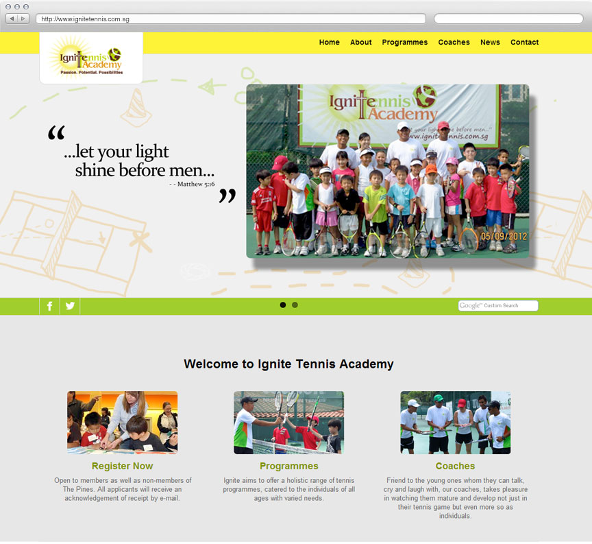 Ignite Tennis Academy website